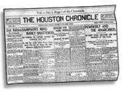 First edition of the Houston Chronicle newspaper, 1901.