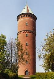 Dansk: Det røde vandtårn i Haderslev - bliver ikke brugt som vandtårn mere