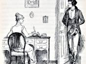 English: Image at the beginning of Chapter 32. Darcy and Elizabeth at Charlotte (nee Lucas) Collins' house. Austen, Jane. Pride and Prejudice. London: George Allen, 1894.
