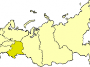 Ural economic region on the map of Russia