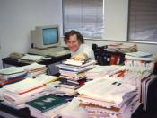 Bob Braden plots the future of the paperless office. Photo taken for Exploring the Internet.