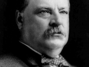 English: Hon. Grover Cleveland, head-and-shoulders portrait, facing right.
