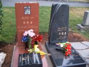 Bruce Lee's headstone along with his son's, Brandon Lee, who died from a bullet firing accidentally during the filming of the movie The Crow.