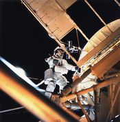 Owen Garriott performs a spacewalk during the Skylab 3 mission