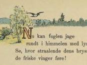 English: Bird in flight and first stanza of a poem for children. Norsk (bokmål): Illustrasjon fra Norsk Billedbog for børn.