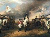 This painting depicts the forces of British Major General Charles Cornwallis, 1st Marquess Cornwallis (1738-1805) (who was not himself present at the surrender), surrendering to French and American forces after the Siege of Yorktown (September 28 – Octobe