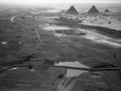 English: January 24, 1938. Cairo, Egypt: Another view of the pyramids and the border of the cultivated Nile valley. c. 1000 feet. 10:10.