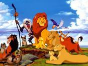 The main characters in the first film. From left to right: Shenzi, Scar, Ed, Banzai, Rafiki, Mufasa, Simba, Sarabi, Zazu, Timon and Pumbaa. Bottom right: Nala and Sarafina.