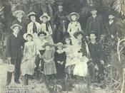 historic photograph taken of the pioneer Browning and Whitaker families in Sarasota, Florida during 1886
