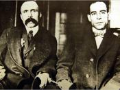 Bartolomeo Vanzetti (left) and Nicola Sacco in handcuffs