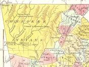 English: Map of Georgia (detail showing Cherokee Indian territory)