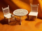 Doll House Table & Chairs - Half Scale Wicker Look 3 Piece Set - Dollhouse by @Louisianaminis | classic as a wicker chair.