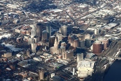 English: Hartford, Connecticut, viewed from an airplane en route to Bradley International Airport