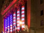 English: The New York Stock Exchange on Wall Street, New York City. Nederlands: De New York Stock Exchange op Wall Street, New York City.