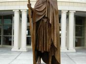 English: A statue of Mary Draper Ingles outside the Boone Co Library.