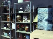 Showcase of an urn shop in Nice.