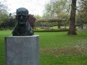 Bust of James Joyce in St. Stephen's Green, Dublin