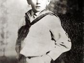 James Joyce in 1888 at age six. Possibly in Bray, a seaside resort south of Dublin. The Joyces lived there from 1887 to 1892.