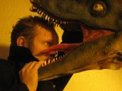 Alexis Dworsky with a model of a Dinosaur (Deinonychus) from Jurassic Park. (In the Movie it was called Velociraptor.)