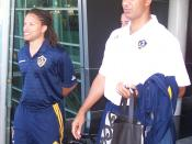 English: Cobi Jones (left) and Ruud Gullit leaving Wellington International Airport following the arrival of the LA Galaxy team to face the Wellington Phoenix