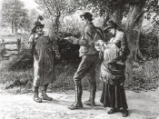 English: 'Hay-trussing — ?' said the turnip-hoer, who had already begun shaking his head. 'O no.' From Robert Barnes's illustrations for the 1886 weekly serialised edition of Thomas Hardy's novel The Mayor of Casterbridge. This illustration, the first, de