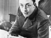 Albert Camus, Nobel prize winner, half-length portrait, seated at desk, facing left, smoking cigarette