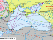 English: Map of Crimean War. The legend is in File:Crimean-war-1853-56-legend.png.