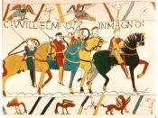 The Bayeux Tapestry, chronicling the English/Norman battle in 1066 which led to the Norman Conquest.
