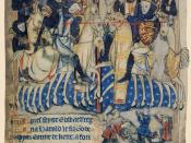 Duke William of Normandy, the Conqueror, stabs King Harold of England at the Battle of Hastings as they fight on horseback. England chronicle in French of circa 1280-1300 at British Library.
