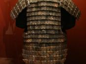 Stone armor suit on display in the National Geographic Museum, USA.