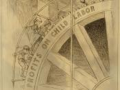 English: Cartoon marked New York World shows children turning a wheel labeled