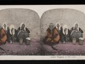 English: Painting of four lepers leaning on a wall in Old Cairo