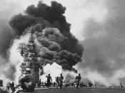 USS Bunker Hill hit by two Kamikazes in 30 seconds on 11 May 1945 off Kyushu.