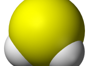 Space-filling model of the hydrogen sulfide molecule, H 2 S