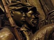 Memorial to Robert Gould Shaw and the Massachusetts Fifty-Fourth Regiment, 1884 - 1897. Detail of African-American soliders. Augustus Saint-Gaudens (1848 - 1907). Plaster original,http://www.nga.gov/feature/shaw/s4300.shtm National Gallery of Art, Washing