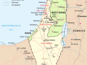 English: Map of Israel, the Palestinian territories (West Bank and Gaza Strip), the Golan Heights, and portions of neighbouring countries. Also United Nations deployment areas in countries adjoining Israel or Israeli-held territory, as of January 2004..