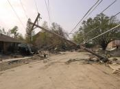 English: New Orleans, LA, 9-30-05 -- This blown down utility pole is a common sight in New Orleans' neighborhoods following hurricane Katrina. Utilities need to be repaired before residents can move back to their homes. Utility companies are working t