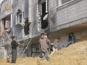 Still shot from video footage filmed on the 18th day of the War on Gaza showing the destruction sustained from Israeli-Palestinian clash in the area