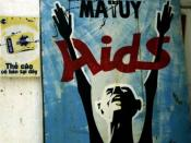 English: AIDS Awareness Sign. Ho Chi Minh City, Vietnam