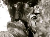 Le Jour ni l'Heure : statue, 2009, de Jean Calvin, 1509-1564, par Daniel Leclercq, à Orléans, Loiret, région Centre, mardi 7 août 2012, 15:48:42