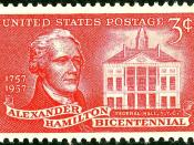 English: US Postage Stamp, 3c, 1957 issue, Alexander Hamilton,