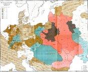 Deutsch: Die Verbreitung der Juden in Mitteleuropa