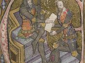 English: 14th century manuscript initial depicting Edward III of England (seated) and his son the Black Prince (kneeling). Español: Eduardo III de Inglaterra (izq.) con su hijo, el Príncipe Negro.