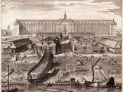 Nederlands: Het scheepswerfterrein van de VOC op Oostenburg in Amsterdam. Prent van de VOC-werf uit 1750, met op de voorgrond de IJ-oever met twee scheepshellingen. Het originele bestand staat hier en wordt hier gebruikt.