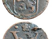 Two sides of a duit, a coin minted in 1735 by the VOC.
