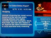 An example of a synopsis of an infomercial within an electronic program guide (in this case, an infomercial about colon detox on The Travel Channel, from Charter Communications); guidelines which previously excluded specific program information for an inf