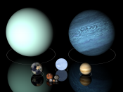 Planets from Venus up to Uranus have diameters from ten to one hundred million metres. Top row: Uranus (left), Neptune (right); middle row: Earth (left), Sirius B (center), and Venus (right), to scale.