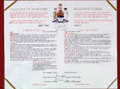The proclamation of the Constitution Act, 1982, showing the full title of Elizabeth II, Queen of Canada