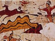 Hunting scene from the North wall of the main chamber of the Muyongchong Tomb (Tomb of the Dancers), (5th c. ce), Ji'an.