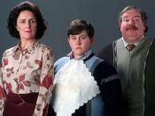 From left to right: Fiona Shaw as Aunt Petunia, Harry Melling as Dudley, and Richard Griffiths as Uncle Vernon in the film adaptation of Harry Potter and the Prisoner of Azkaban.